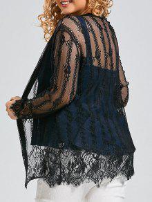 Más El Tamaño De Encaje Cubrir Kimono Top - Negro 2xl
