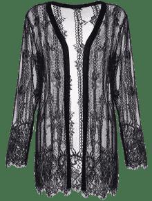 Plus Size Lace Cover Up Kimono Top BLACK: Plus Size Sweaters ...