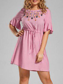 Plus Size Embroidered Belted Ruffles Dress - Pink Xl