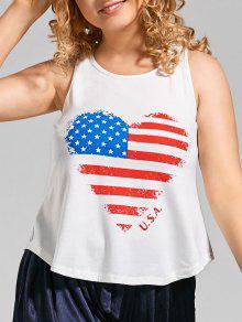 Plus Size Racer Back Heart Patriotic Top - White 5xl