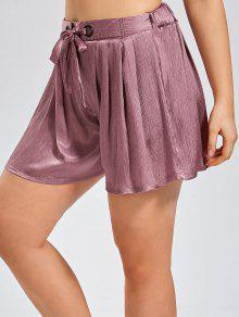 Plus Size Crushed Self Tie Shorts - Pinkish Purple 3xl