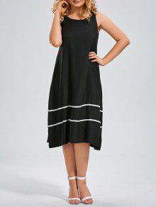 Plus Size Midi Striped Trapeze Tank Dress - Black 3xl