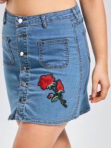 Plus Size Buttons Rose Patch Denim Skirt - Denim Blue 2xl