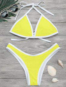 High Cut Contrast Piping Bikini Set - Lemon Yellow M