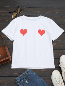 Heart Print Round Collar Tee - Red M