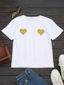 Heart Print Round Collar Tee - Ginger S