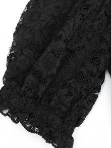 Shoulder S Blusa Hem Ruffle The Lace Negro Off xqX05Ft