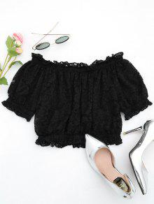 S Off Ruffle The Shoulder Lace Hem Blusa Negro 0BqwfB
