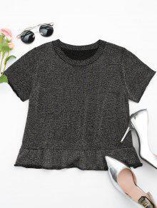 Camiseta Con Cuello Redondo De Brillo De Dobladillo - Multi L