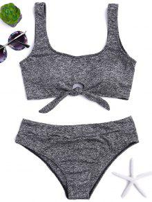 Heathered Front Tied Bikini Set - Gray S