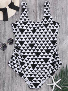 Geometric Pattern Scoop Plus Size Swimwear - White And Black 3xl