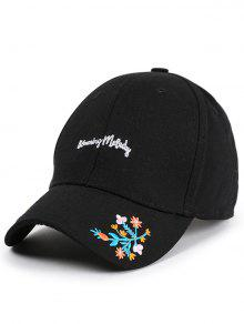 Letters Flowers Embroidery Baseball Hat - Black
