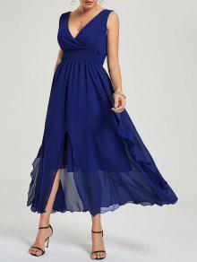 فستان امبراطورية الخصر شيفون سهرة - ازرق غامق M