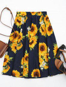 عباد الشمس طباعة عالية الخصر تنورة - الأزهار