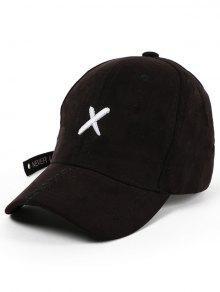 عبر التطريز طويل الذيل قبعة بيسبول - أسود