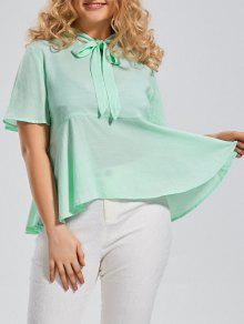Plus Size Tied Neck Smock Blouse - Mint Xl