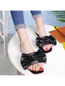 Flat Heel Faux Leather Bowknot Slippers - Black 37