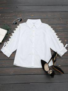 Hollow Out Beading Button Up Shirt - White M