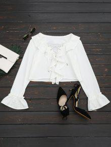Lace Up Ruffle Hem Crop Blouse - White M