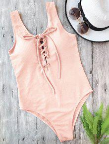Textured Padded Lace Up One Piece Swimsuit - Pink S