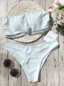 Knot Padded Bandeau Bikini Set - White M