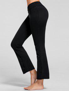 Stretch Bootcut Yoga Pants With Pocket - Black M