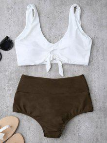 Knotted High Waisted Ruched Bikini Set - Brown L