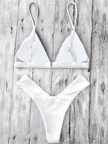 75defc53ba0 25% OFF] [HOT] 2019 Plunge Padded Textured High Cut Bikini Set In ...