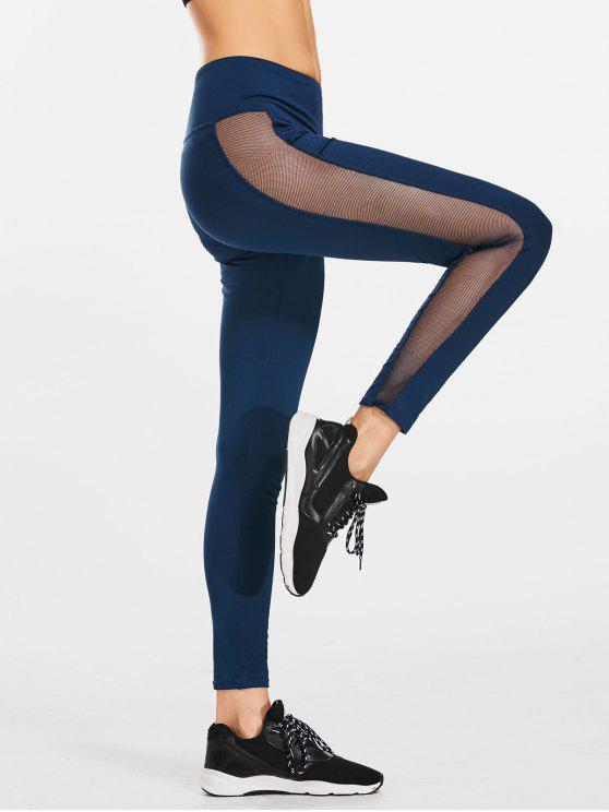 1b547f66a52ab2 22% OFF] 2019 Active Skinny Mesh Panel Leggings In BLUE | ZAFUL