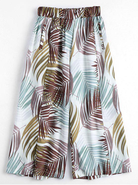 Leaves Print Culotte Pantalones - Multi S