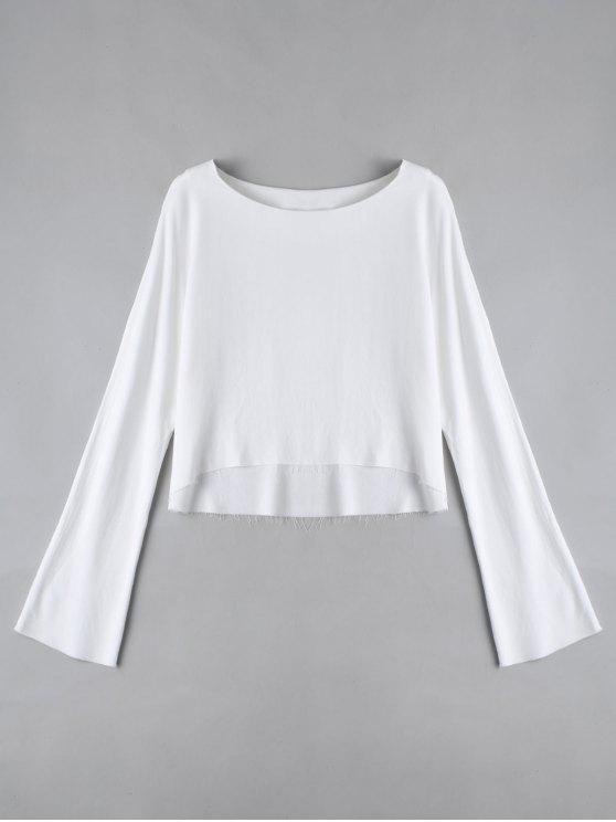 Camiseta de manga larga alta baja - Blanco M