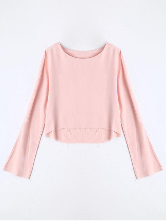 Camiseta de manga larga alta baja - Rosa M