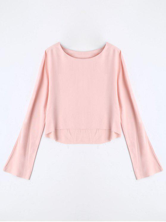 fancy Long Sleeve High Low T-shirt - PINK S