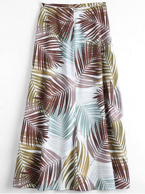 lady Leaves Print Maxi Flare Skirt - MULTI L