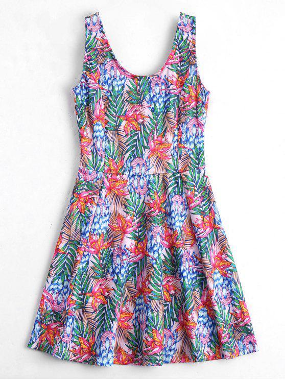 فستان بلا أكمام طباعة الأزهار الرقبة U - الأزهار M