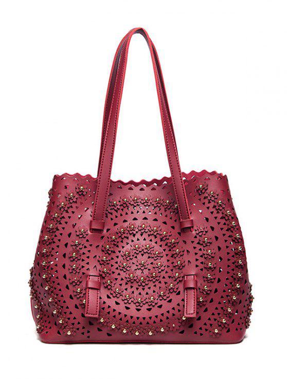 trendy Cut Out Rivet Shoulder Bag - RED