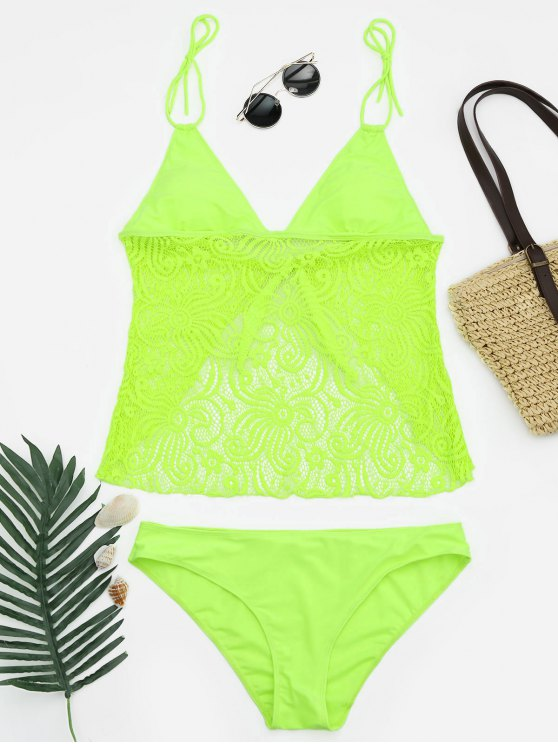 hot Lace Plus Size Tankini Bathing Suit - NEON GREEN 5XL