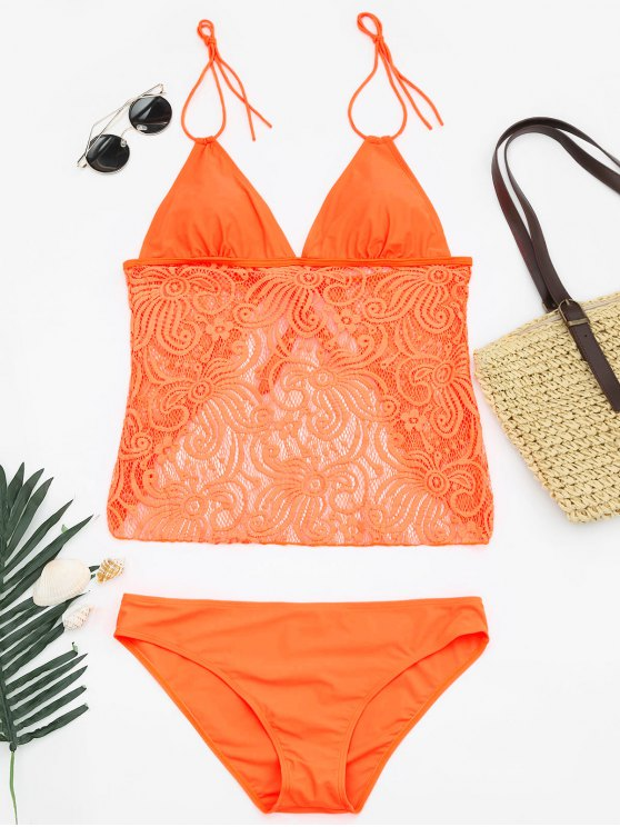 fancy Lace Plus Size Tankini Bathing Suit - NEON ORANGE XL