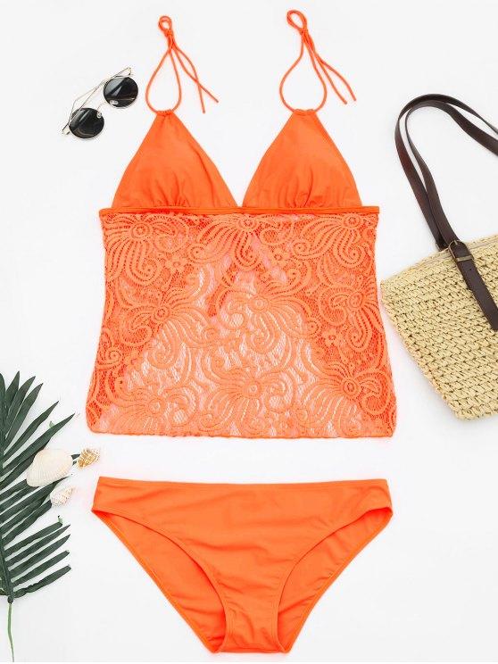 fancy Lace Plus Size Tankini Bathing Suit - NEON ORANGE XL
