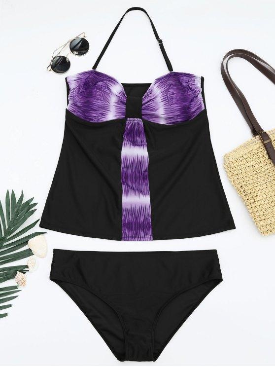 women's Padded Bandeau Tankini Bathing Suit - PURPLE 4XL