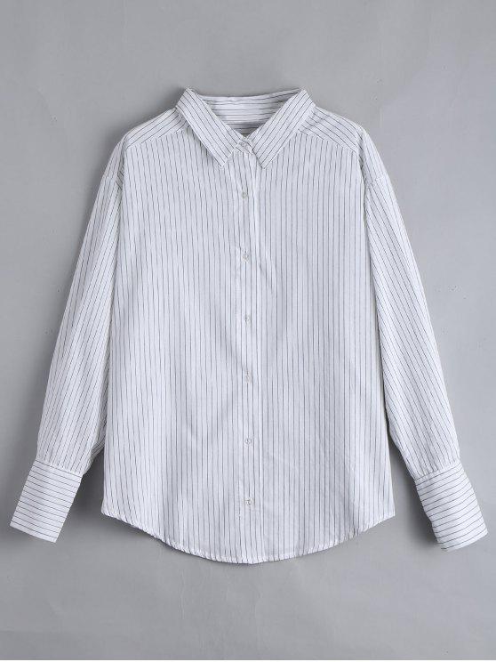 قطرة الكتف زر حتى مخطط قميص - أبيض M