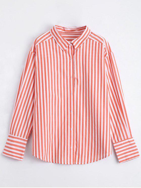 بوتون أوب مخطط قميص لونغلين - البرتقالي M