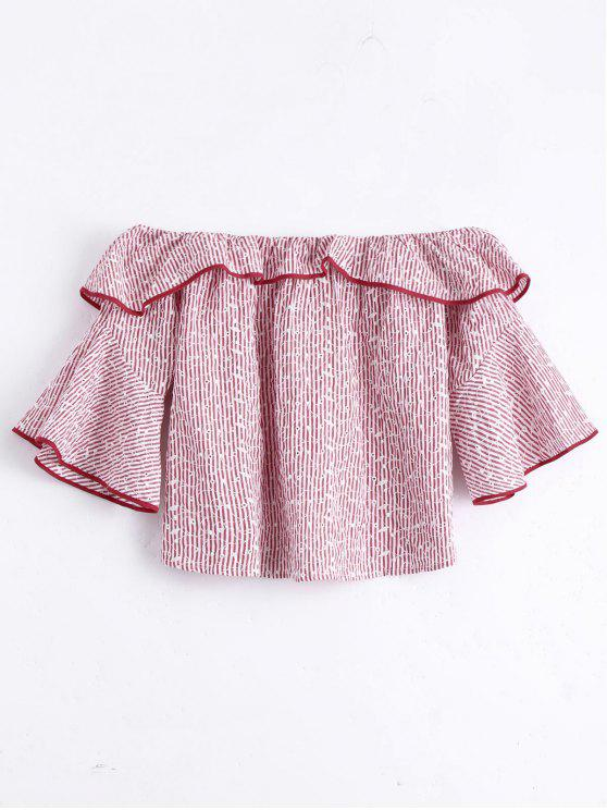 buy Flare Sleeve Flounce Striped Blouse - RED S