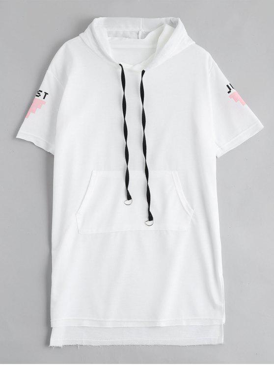 Robe à manches courtes à imprimé lettre imprimé à capuchon - Blanc XL