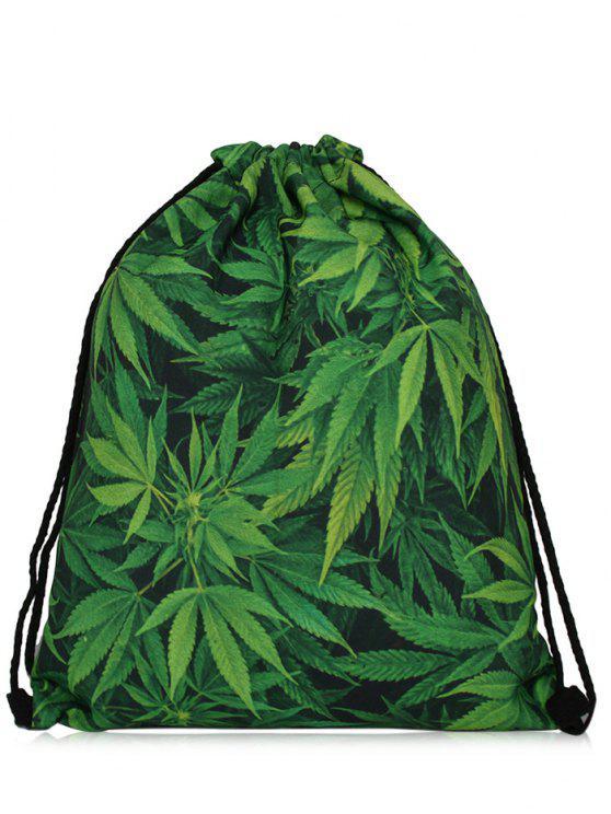 outfit Nylon Printed Drawstring Bag - GREEN