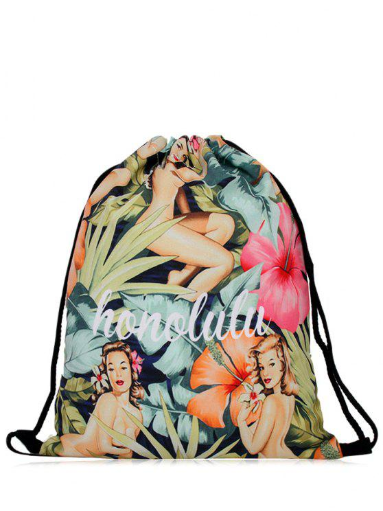 shops Nylon Printed Drawstring Bag - COLORMIX