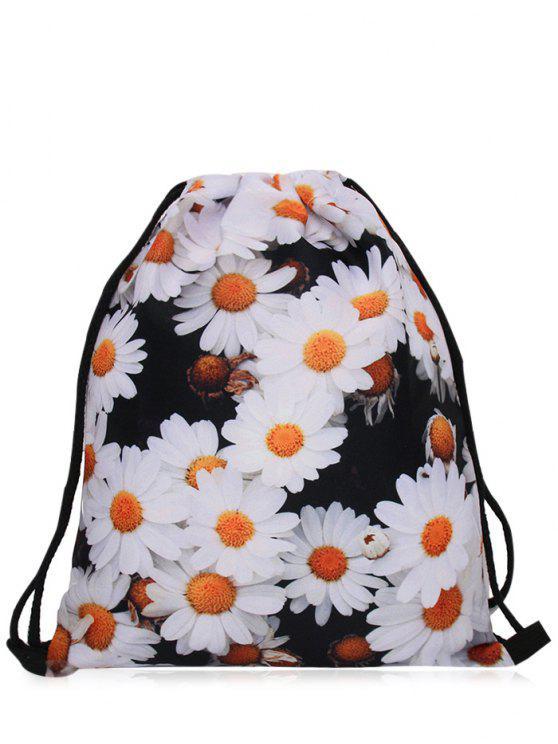 latest Nylon Printed Drawstring Bag - BLACK WHITE