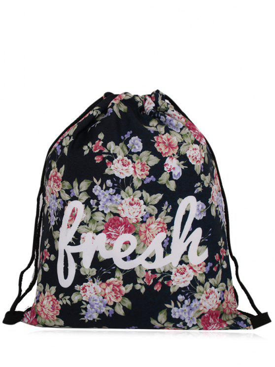trendy Nylon Printed Drawstring Bag - BLACK