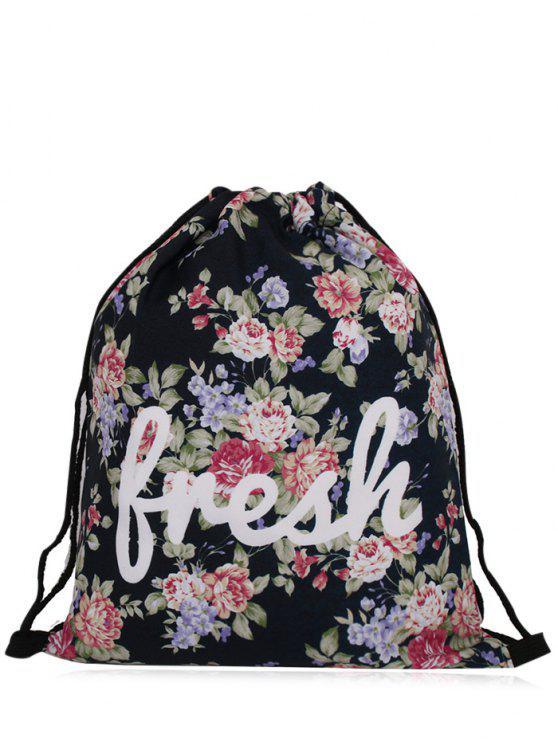 trendy Nylon Printed Drawstring Bag - BLACK