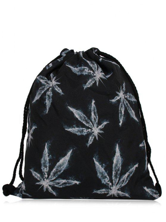 fashion Nylon Printed Drawstring Bag - BLACK GREY
